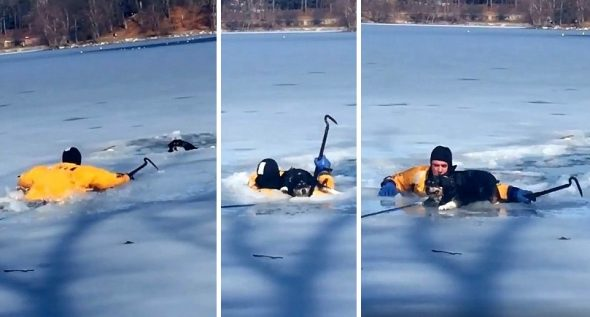 Firefighter Smashed Through Iced Pond to Save a Dog