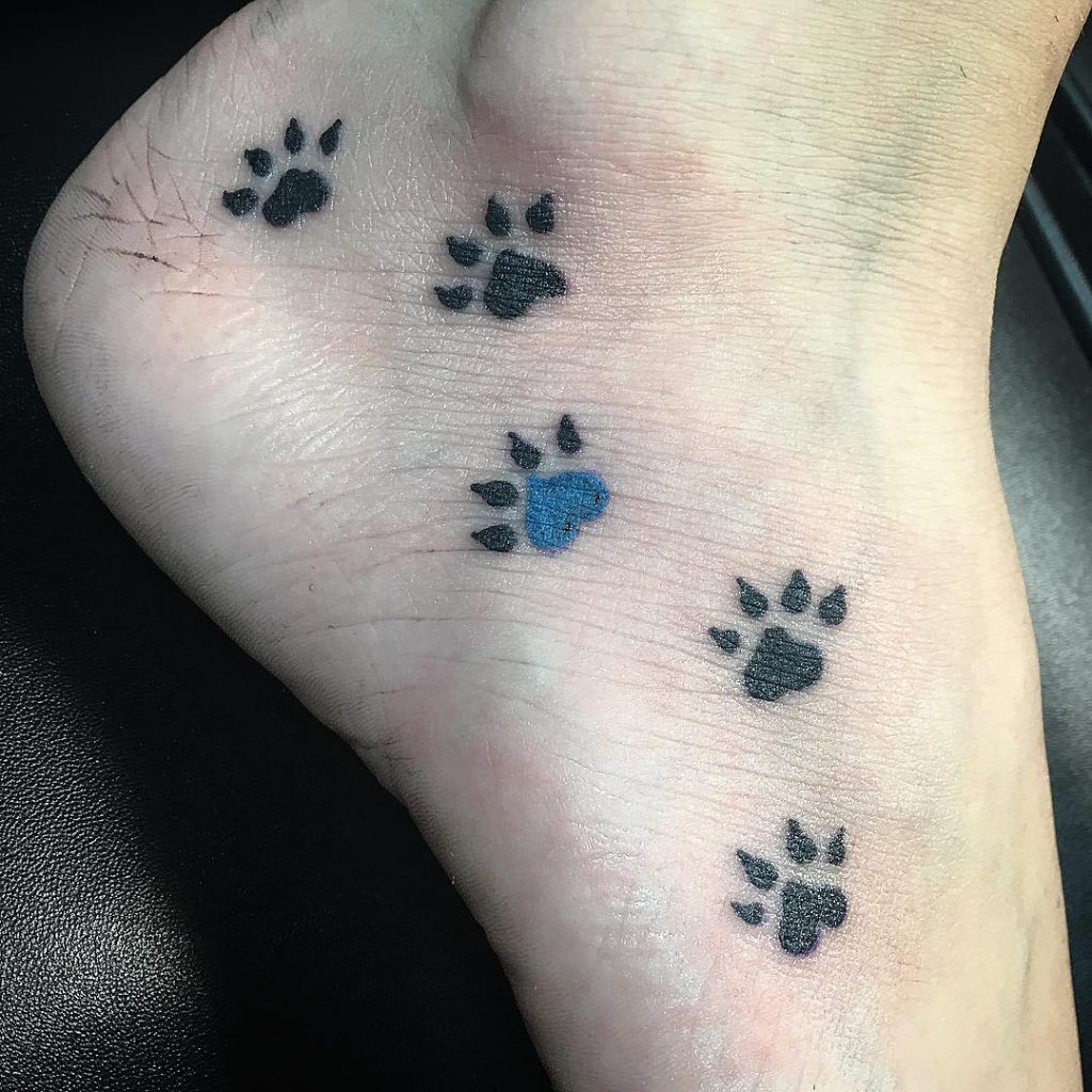 Dog Paw Print Tattoos On Foot